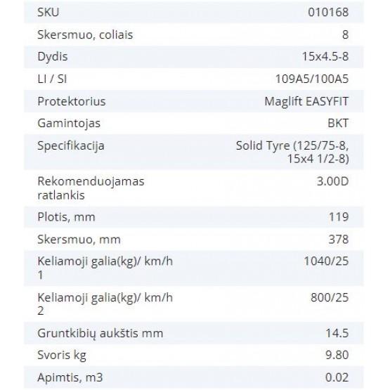 Masyvinė padanga 15X4.5-8 (125/75-8, 15X4 1/2-8) 3.00D BKT MAGLIFT EASYFIT 109A5/100A5