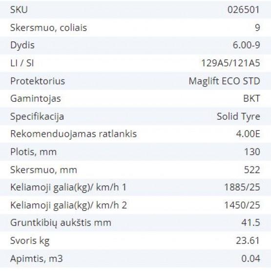 Masyvinė padanga 6.00-9 4.00E BKT MAGLIFT ECO STD 129A5/121A5