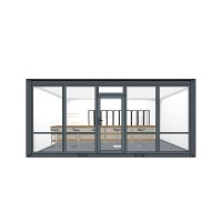 Container cabin 6x3x2.8 m with alu windows and doors. Anthracite gray