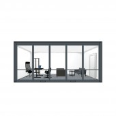 Container cabin 6x3x2.8 m with PVC windows. Anthracite gray