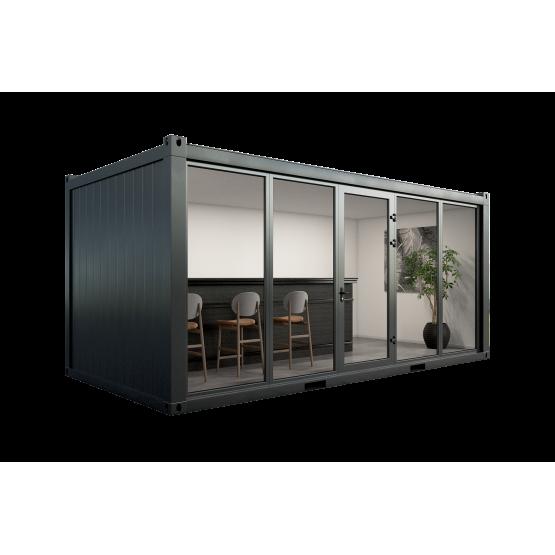 Konteinerinė patalpa su aliuminio vitrinomis ir durimis 6x3x2.8 m antracito spalvos
